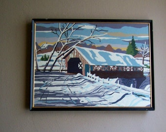 Vintage Paint By Number Painting Winter Scene Covered Bridge