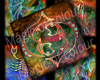 Zodiac Signs - 63  1x1 Inch Square JPG images - Digital  Collage Sheet