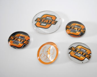 Oklahoma State University magnet or push pin set - made from recycled magazines, stocking stuffer, hostess gift, graduation
