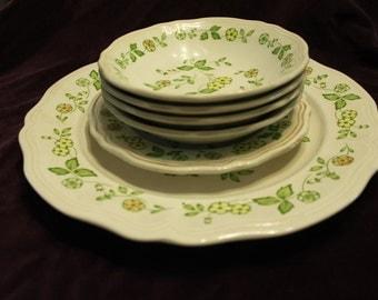 Vintage Petite Flora Ironstone 1 Platter 4 Bowls 1 Salad Dish