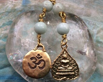 The Loving Kindness Mala in Brass and Amazonite. A Fundraiser for Alzheimers Research