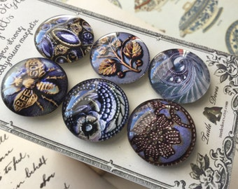 Glass Magnets (set of six) - Antique button style magnets