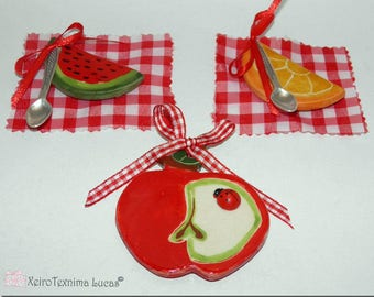 Handmade Ceramic Fruit Magnets Gift Wrap Greek Souvenirs, Kitchen Ornament Magnet Watermelon, Apple, Orange Slices
