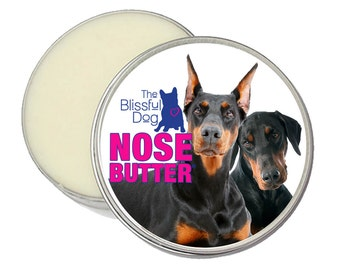 Doberman Pinscher ORIGINAL NOSE BUTTER® All Natural Moisturizing Balm for Dry or Crusty Dog Noses 8 oz. Tin with Dobie Label in Gift Bag