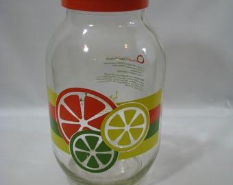 Vintage Carlton Glass Sun Tea Jar with Orange Flip Lid