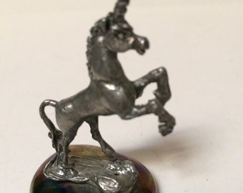 """Unicorn, Figurine 2 1/2"""" tall, Fantasy, solid pewter, on glass base"""