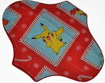 Light Hemp Core- Pokemon Holidays Reusable Cloth Pantyliner Pad- WindPro Fleece- 8.5 Inches