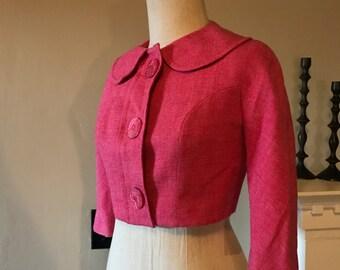 60s Jackie O Pink Wool Bolero Cropped Jacket