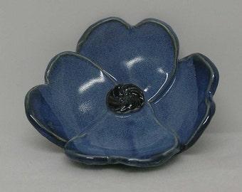 Porcelain Denim Blue Glazed Handbuilt Decorative Flower