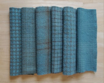Vintage Blue Hand Dyed Felted Wool Fabric Bundle Perfect for Quilting, Sewing, Wool Applique, Rug Hooking