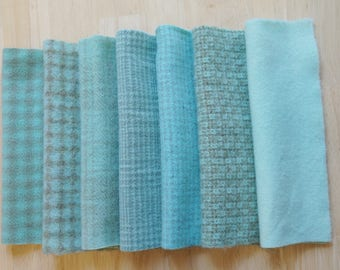 Aqua Hand Dyed Felted Wool Fabric in Aqua Bundle Pack of 7 Quilting, Sewing, Wool Applique by Quilting Acres