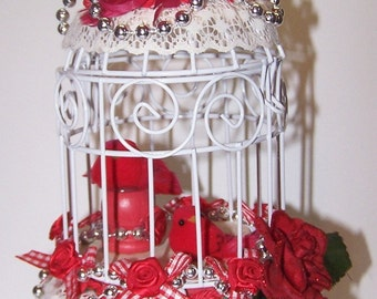 Decorated Birdcage, Birdcage, Cardinal, Red, Romantic Decor, Gift for Her, Gift for Him, Silver, Christmas Decor, Holiday Decor, Home Decor,