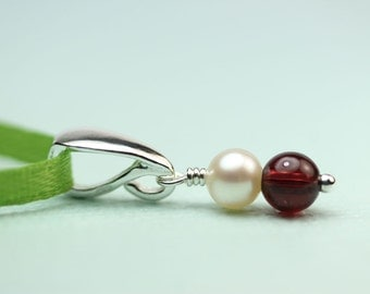 Pearl and garnet petite pendant without chain, art4ear, gift for her under 20 dollars, stocking stuffer, pendant for necklace, pendant only