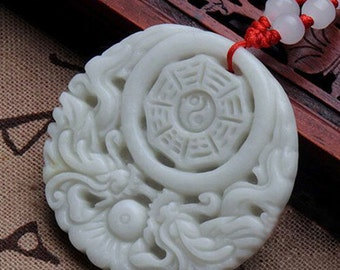 Chinese Carved White Nephrite JADE Yin Yang Pendant Red Silk 24in Cord