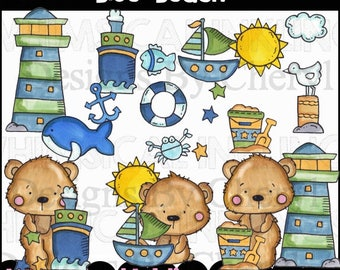 Blue Beach Clipart Collection - Immediate Download