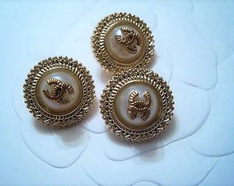 Summer Sale!!!! Three (3) Chanel Faux Pearl Gold Dome Metal Buttons, 16 mm