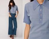 Striped Polo Shirt 70s Shirt Half Button Up T Shirt Blue Collared 1970s Nerd Retro Vintage Hipster Medium