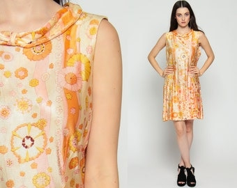 Scooter Dress 60s Mini Mod Floral Drop Waist Psychedelic Print 1960s Vintage Sixties Twiggy Go Go Orange Sleeveless MiniDress Extra Large xl