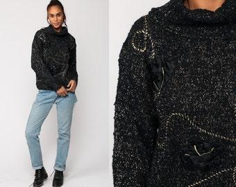 Metallic Sweater Black GOLD Knit 80s Jumper COWL Neck Turtleneck Pullover Grunge Sparkly Glam Party Vintage Turtle Neck Medium