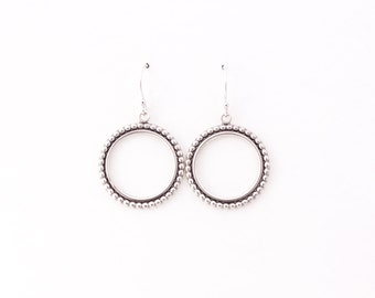 """Modern silver hoops, striking design of two circles of beaded and plain wire oxidized to highlight the contrast - """"Relic Hoops - small"""""""