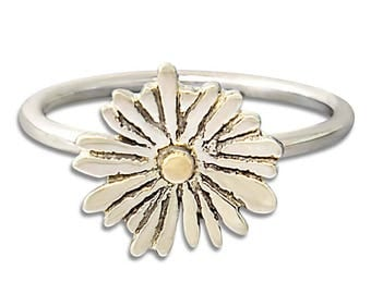 Flower ring, daisy ring, silver and gold ring, sterling silver ring, 14k gold ring