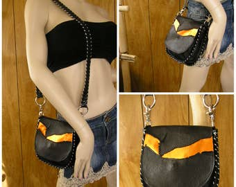 """Black and Metallic Orange Leather Purse, Cross-body Bag, whip-stitched, magnetic snap, 22"""" drop, removable leather strap, 7"""" x 7""""  x 1.5"""""""