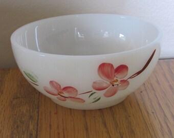 Vintage Handpainted Milk Glass FireKing Bowl/Dessert/Cereal/Salad/Soup