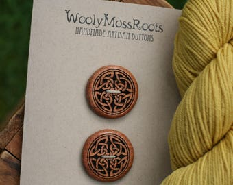 2 Madrone Celtic Knot Buttons- Oregon Madrone Wood- Wooden Buttons- Eco Craft Supplies, Eco Knitting Supplies, Eco Sewing Supplies