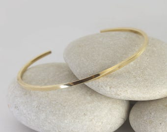 Solid Gold Twist Cuff, 14K Gold Stacking Bangle, Simple Gold Square Bracelet