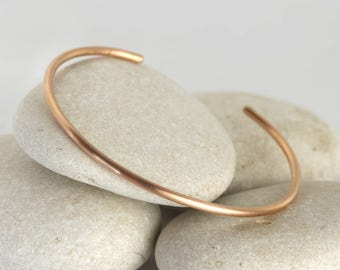 Matte Rose Gold Cuff Bangle, Simple Rose Gold Cuff, Custom Sized Stacking Bracelets
