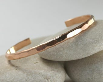 Wide Hammered Rose Gold cuff, custom size handmade stacking bangle from the Ophelia Collection