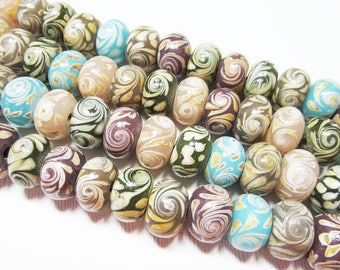 """5.25"""" Glass STRAND - Lampwork Glass Beads - Miscellaneous Swirled Rondelles  (5.25 inch strand - 16 beads) - str1002"""