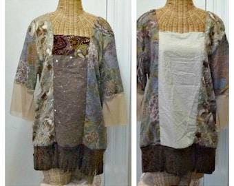 Patchwork Medley Tunic Top Small, Medium Sequin Velvet Fringed Bohemia Reversible Boho Bohemian Western Dotted Swiss Fabrics