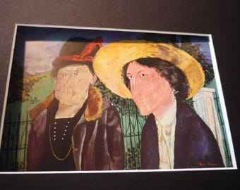 Vintage - Ben Shahn, Two Witnesses, 1932  - Framed  American realist - for art lovers - color plate gift decor retro american realism