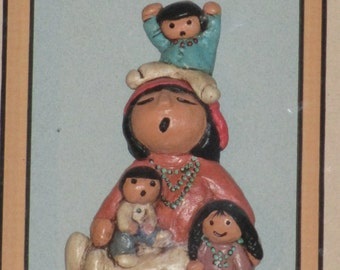 Native American Indian Story  Teller ~ Rare ~ Box Framed Hanging Wall Picture Storyteller Pottery