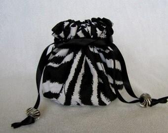Jewelry Bag - Medium Size - Traveling Jewelry Pouch - Drawstring Tote - ZANY ZEBRA
