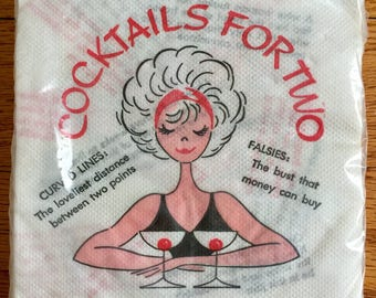 "Vintage 1960s Naughty Cocktail Tissue Napkins Sealed / ""Cocktails For Two"" Bosom Nipples Cherry in Glass"