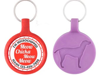 Meow Chicka Meow Meow Cat ID Pet Tag Custom Pet Tag You Choose Tag Size & Colors