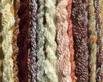 Handspun Mini Skeins set of 13 Variety of Fibres and Colours