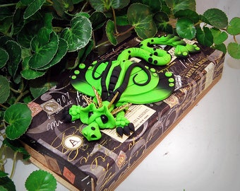 Ooak Polymer Clay Lime Green & Black Sad Little Dragon on Antique Oddities Themed Divided Box #814 Home Decor and Storage