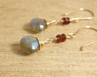 Earrings with Garnet Rondelles and Labradorite Teardrops Wire Wrapped with Gold Filled Wire GHE-2