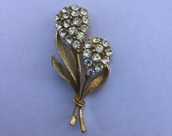 Vintage Rhinestone Double Flower Pin