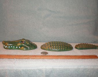 Three Piece Ceramic Alligator  Head Body Tail