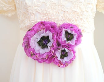 lavender purple white green bridal flowers, weddings accessories, bridal corsage hair clips, bridesmaids head pieces, bridal sash flowers