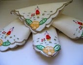 Vintage Linen Napkins Embroidered Flower Maiden Set of Four Destash Repurpose Recycle