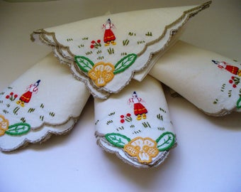 Vintage Linen Napkins Embroidered Flower Maiden Set of Four Destash Repurpose Recycle