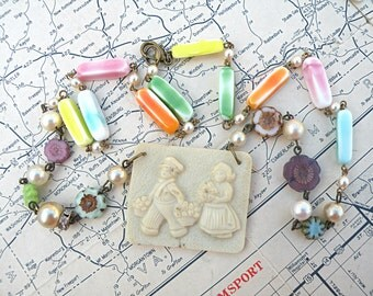 dutch boy girl necklace assemblage spring holland cottage chic upcycled jewelry pastel