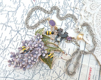 romantic spring lilac necklace assemblage bee recycled vintage jewelry bumblebee collage cottage chic ooak