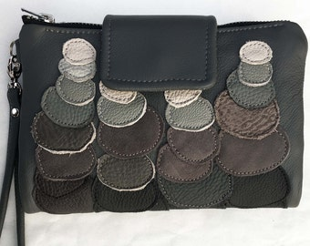 grey leather clutch wallet, leather wristlet, stonehenge clutch, unique wallet, leather clutch ombre