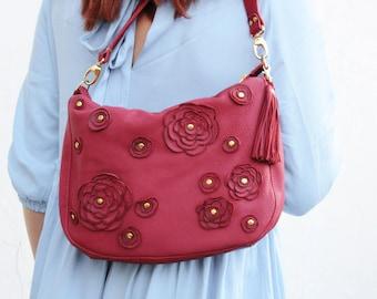 Red leather bag womens purse, leather hobo bag, womens crossbody bag boho bag floral shoulder bag, large leather bag, gift for mom spring